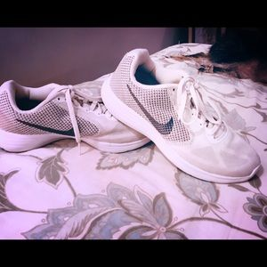 White and gray Nike's worn 2 times